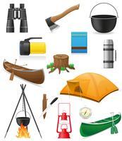 impostare elementi di icone per l'illustrazione di vettore di ricreazione all'aperto