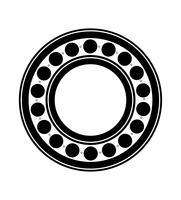 illustrazione nera di vettore del profilo della siluetta del cuscinetto a sfera del metallo