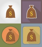 La borsa delle vincite dei soldi alle icone piane del casinò vector l'illustrazione