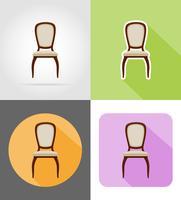 illustrazione piana di vettore delle icone stabilite della mobilia della sedia