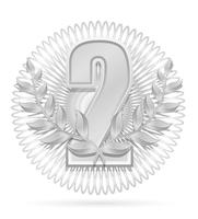 illustrazione vettoriale d'argento di sport vincitore corona ghirlanda vincitore