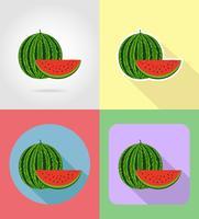 le icone stabilite piane di frutti dell'anguria con l'illustrazione di vettore dell'ombra