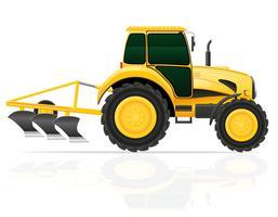trattore con illustrazione vettoriale aratro