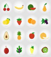 icone piane di frutti insieme con l'illustrazione di vettore dell'ombra