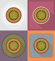 illustrazione piana delle icone degli oggetti e dell'attrezzatura del casinò della roulette vettore