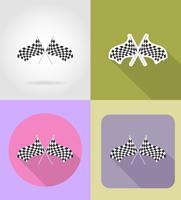 le bandiere a quadretti per le icone piane di corsa di veicoli vector l'illustrazione