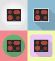 gli elettrodomestici della stufa per le icone piane della cucina vector l'illustrazione