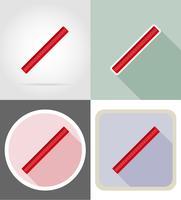 illustrazione piana di vettore delle icone piane dell'attrezzatura della cancelleria del righello