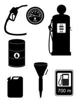 illustrazione stabilita di vettore delle icone del combustibile della siluetta nera