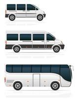 autobus grandi e piccoli per l'illustrazione vettoriale di trasporto passeggeri