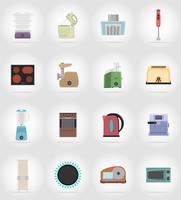 gli elettrodomestici per le icone piane della cucina vector l'illustrazione