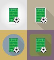 illustrazione piana di vettore delle icone del campo di stadiun di calcio di calcio