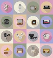 vecchie icone piane di retrò vintage multimediale vettoriale illustrazione