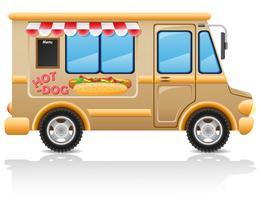 illustrazione di vettore degli alimenti a rapida preparazione dell'automobile del hot dog