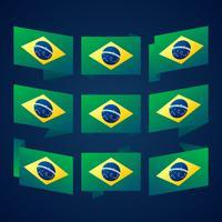 Illustrazione di progettazione del modello di vettore della bandiera del nastro del Brasile