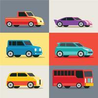 Insieme di vettore di trasporto urbano, auto e veicoli della città