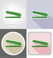 illustrazione piana di vettore delle icone piane dell'attrezzatura della cancelleria della cucitrice meccanica