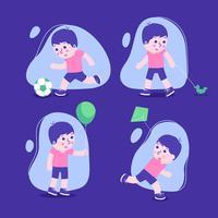 Set di caratteri di bambini con ragazzi che giocano.