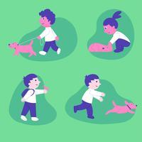 Set di caratteri di bambini che giocano con animali domestici