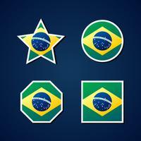 Insieme di elementi di tema icone bandiera Brasile