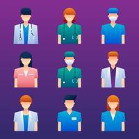 Set di elementi avatar personaggi medici vettore