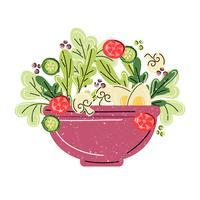 Illustrazione della ciotola di insalata di vettore