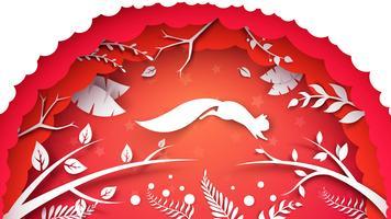Paesaggio cartone animato di carta. Illustrazione scoiattolo vettore