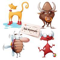 Gatto, toro, scarafaggio, diavolo - set di animali