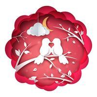 Uccello e illustrazione di amore. Paesaggio di carta