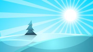 Paesaggio di neve dei cartoni animati. Sole, neve, illustrazione di abete. Eps vettoriale