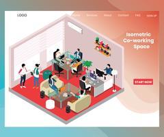 Concetto di illustrazione isometrica dello spazio di co-working per le persone