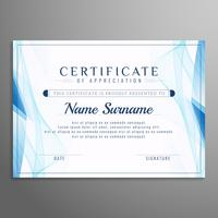 Disegno astratto modello di certificato ondulato blu