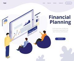 Concetto di opera d'arte isometrica di pianificazione finanziaria vettore