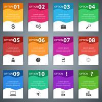 Imposta 10 oggetti e due bonus. Stile di origami di infografica di affari