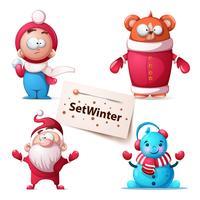 Illustrazione orso inverno. Simpatici personaggi. vettore