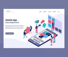 Concetto di grafica isometrica dello sviluppo di app mobili vettore