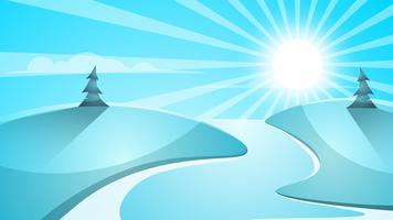 Paesaggio di neve dei cartoni animati. Sole, neve, abete, illustrazione di mountine.