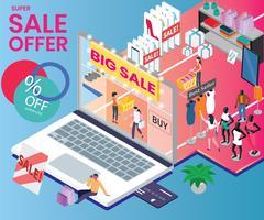Concetto di opera d'arte isometrica dello shopping in vendita vettore