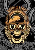 cranio che indossa un casco e un disegno a mano google cross.vector