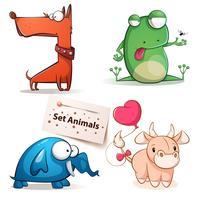 Cane, rana, elefante, animali da allevamento.
