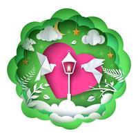 Illustrazione di amore colomba Paesaggio di carta dei cartoni animati. vettore