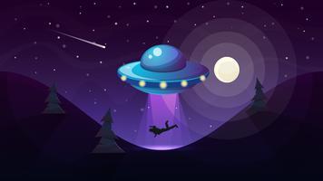 UFO rapisce una persona - illustrazione di cartone animato. vettore