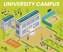 Concetto di opere d'arte isometrica del campus universitario