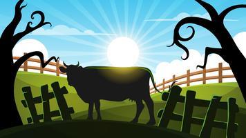 Mucca nella foresta - illustrazione del paesaggio del fumetto. vettore