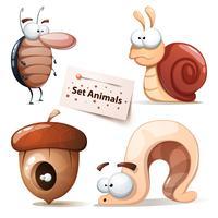 Scarafaggio, lumaca, noci, verme - set di animali vettore