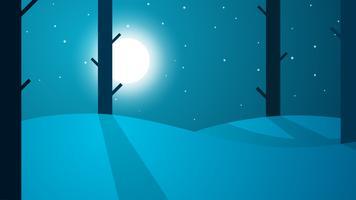 Viaggia notte paesaggio dei cartoni animati. Albero, montagna, stella, luna, strada vettore