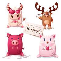 Mucca, cervo, maiale, gatto-set di animali. vettore