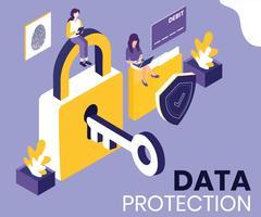 Concetto isometrico del materiale illustrativo di protezione dei dati
