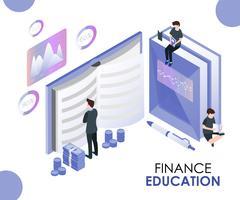 Finanza Istruzione isometrica di educazione. vettore