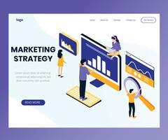 Concetto di illustrazione isometrica di strategia di marketing vettore